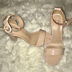 Light Taupe Patent Chunky Heel